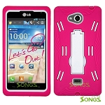 LG Spirit MS870 (MetroPCS) Heavy Duty Case with Kickstand Pink/White