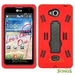 LG Spirit MS870 Heavy Duty Case with Kickstand  Red/Black
