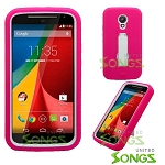 Motorola G(2nd-Gen) Heavy Duty Case With Kickstand Pink/White