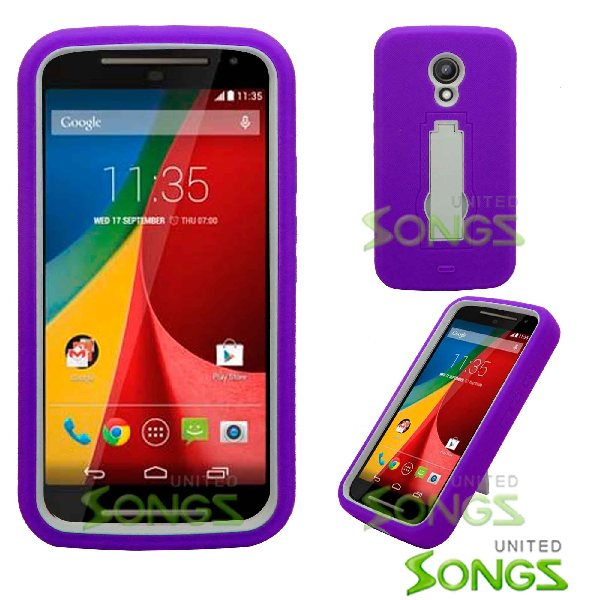Motorola G(2nd-Gen) Heavy Duty Case With Kickstand Purple/White
