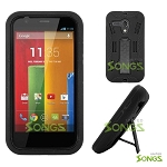 Motorola Moto G XT937C XT1028 XT1031 XT1032 Heavy Duty Case with Kickstand Black/Black
