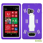 Nokia Lumia 928 Heavy Duty Case with Kickstand Purple/White