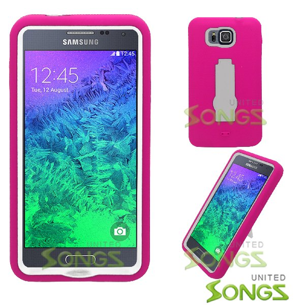 Samsung Galaxy Alpha G850 Heavy Duty Case With Kickstand Hot Pink/White