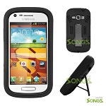 Samsung Galaxy Prevail 2 Galaxy Ring M840 Heavy Duty Case with Kickstand Black/Black