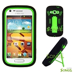 Samsung Galaxy Prevail 2 (Boost Mobile) Galaxy Ring (Virgin Mobile) M840 Heavy Duty Case with Kickstand Black/Green