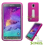 Samsung Note 4/N9100 Heavy Duty Case With Kickstand Pink/White