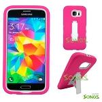 Samsung Galaxy S6 Heavy Duty Case With Kickstand Pink/White