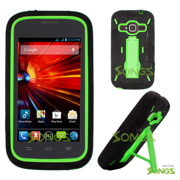 ZTE Concord II Z730(T-mobile, MetroPCS) Heavy Duty Case with Kickstand Black/Green