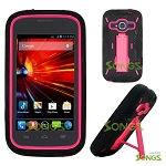 ZTE Concord II Z730(T-mobile, MetroPCS) Heavy Duty Case with Kickstand Black/Pink