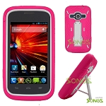 ZTE Concord II Z730(T-mobile, MetroPCS) Heavy Duty Case with Kickstand Pink/White