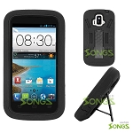 ZTE Z740G Sonata 4G/Radiant(AT&T) Heavy Duty Case with Kickstand Black/Black