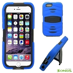 iPhone 6S/6 Heavy Duty Case with Kickstand & Screen Protector Blue/Black