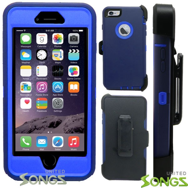 iPhone 6S Plus/6 Plus Heavy Duty Case With Screen Protector & Clip Dark Blue/ Blue