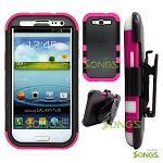 Samsung Galaxy S3 S III i9300 (for any Carriers)  Heavy Duty Case with Clip Black/Pink