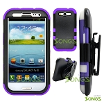 Samsung Galaxy S3 S III i9300 (for any Carriers)  Heavy Duty Case with Clip Black/Purple