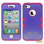 iPhone 4 4S Heavy Duty Case Soft Inside Purple/Pink