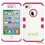iPhone 4 4S Heavy Duty Case Soft Inside White/Pink