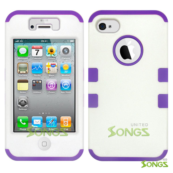 iPhone 4 4S Heavy Duty Case Soft Inside White/Purple
