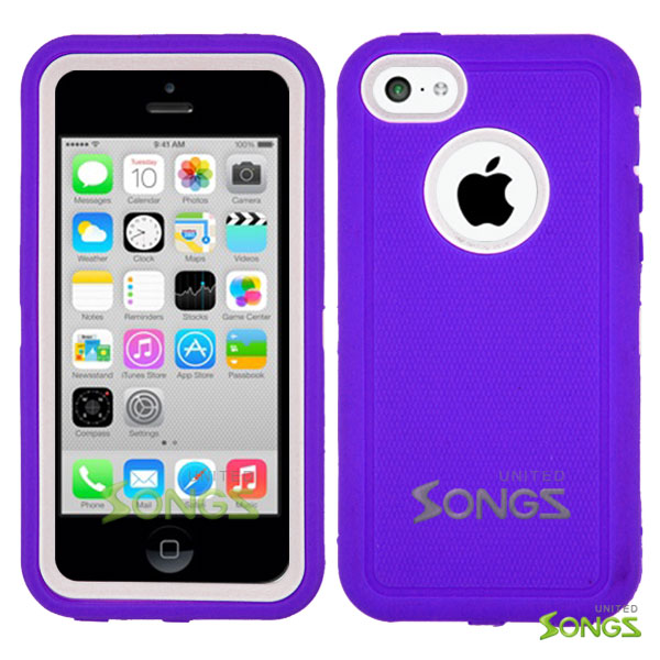 iPhone 5C Heavy Duty Case with Screen Protector Purple/White