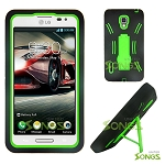 LG Optimus F7 US780 (Boost Mobile, US Cellular) Heavy Duty Case with Kickstand Black/Green