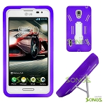 LG Optimus F7 US780 Heavy Duty Case with Kickstand Purple/White