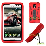 LG Optimus F7 US780 (Boost Mobile, US Cellular) Heavy Duty Case with Kickstand Red/Black