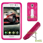 LG Optimus F7 US780 Heavy Duty Case with Kickstand Pink/White