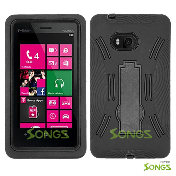 Nokia Lumia 810 Heavy Duty Case with Kickstand Black/Black