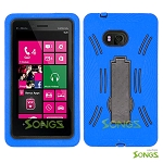 Nokia Lumia 810 Heavy Duty Case with Kickstand Blue/Black