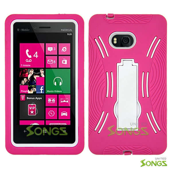Nokia Lumia 810 (T-Mobile) Heavy Duty Case with Kickstand Pink/White