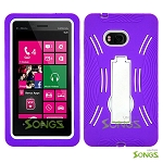 Nokia Lumia 810 Heavy Duty Case with Kickstand Purple/White