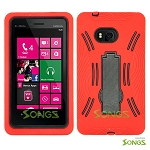 Nokia Lumia 810 Heavy Duty Case with Kickstand Red/Black