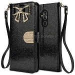 Alcatel 7 Sparkle Diamond Wallet Case With Butterfly Design Black