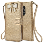 Alcatel 7 Sparkle Diamond Wallet Case With Butterfly Design Gold