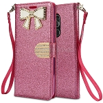 Alcatel 7 Sparkle Diamond Wallet Case With Butterfly Design Pink
