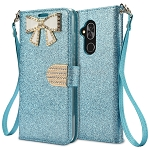 Alcatel 7 Sparkle Diamond Wallet Case With Butterfly Design Blue