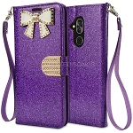 Alcatel 7 Sparkle Diamond Wallet Case With Butterfly Design Purple