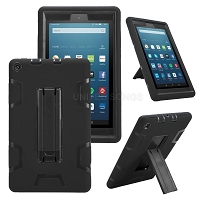 Amazon Kindle Fire 7 Inch (2019) New Enhanced Heavy Duty Case With Kickstand Black/Black