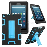 Amazon Kindle Fire 7 Inch (2019) New Enhanced Heavy Duty Case With Kickstand Black/Blue