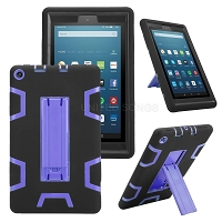 Amazon Kindle Fire 7 Inch (2019) New Enhanced Heavy Duty Case With Kickstand Black/Purple
