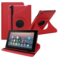 Amazon Kindle Fire HD 8 (2017) 360 Degree Rotating Leather Case Red