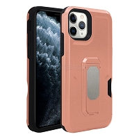 iPhone 11 Pro Max New Heavy Duty Case With Kickstand & Card Holder Rose Gold