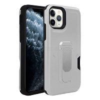 iPhone 11 Pro Max New Heavy Duty Case With Kickstand & Card Holder Silver