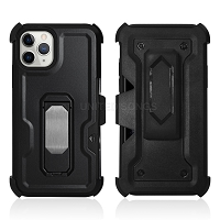 iPhone 11 Pro Max New Heavy Duty Kickstand Case With Card Holder & Clip Black