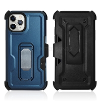 iPhone 11 Pro Max New Heavy Duty Kickstand Case With Card Holder & Clip Blue