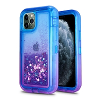 iPhone 11 Pro New HVDQ Dual Layer Heavy Duty Liquid Glitter Defender Case Blue/Purple
