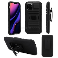 iPhone 11 Pro New 3 in 1 Hybrid Magnetic Kickstand Case With Belt Clip Black/Black