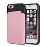 iPhone 6S Plus/6 Plus New Hybrid Case With Built-in Mirror/Card Slot/Stand Pink