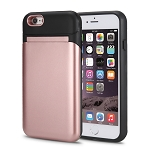 iPhone 6S Plus/6 Plus New Hybrid Case With Built-in Mirror/Card Slot/Stand Rose Gold
