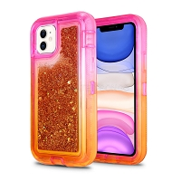iPhone 11 New HVDQ Dual Layer Heavy Duty Liquid Glitter Defender Case Pink/Gold